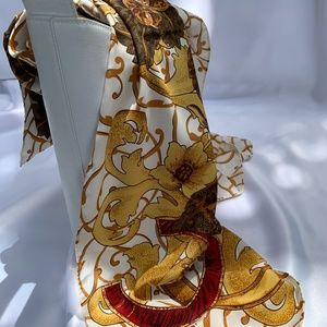 Chanel style 100% silk scarf made in Paris.